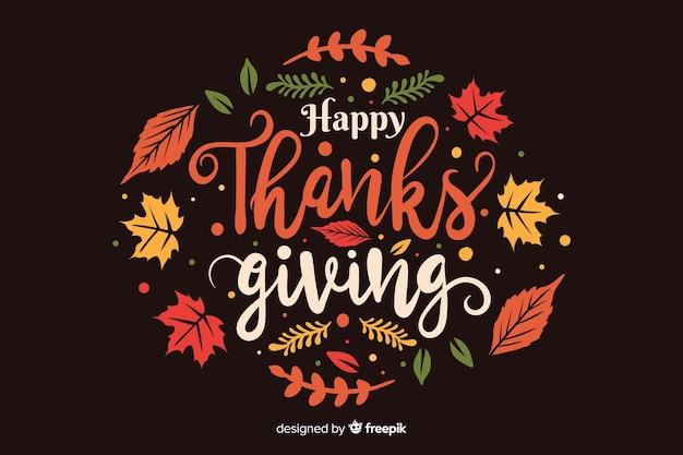 Platte ontwerp thanksgiving achtergrond met gedroogde bladeren