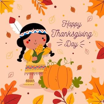 Platte ontwerp thanksgiving achtergrond met indiase meisje
