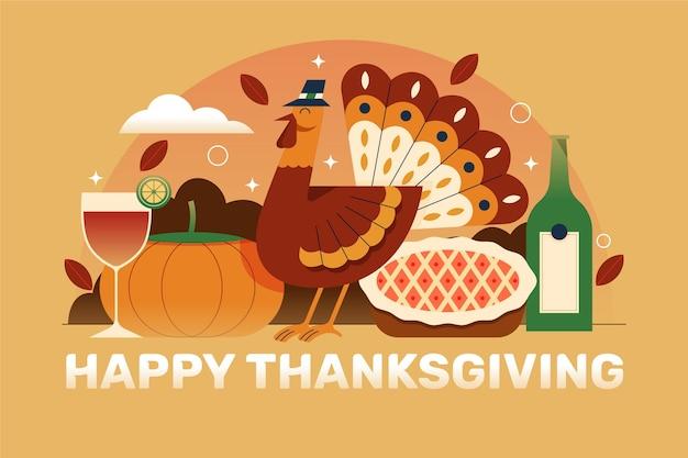 Platte ontwerp thanksgiving achtergrond met kalkoen en eten