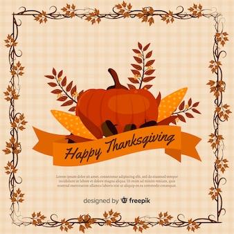 Platte ontwerp thanksgiving achtergrond met pompoen en bladeren
