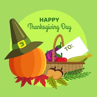 Platte ontwerp thanksgiving achtergrond met pompoen en hoed