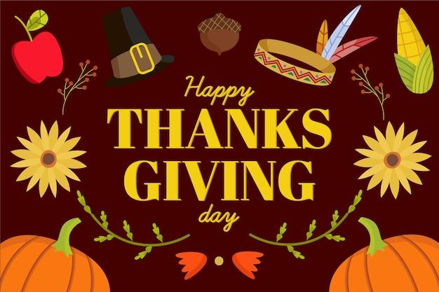 Platte ontwerp thanksgiving achtergrond met pompoenen en elementen