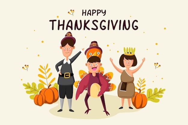 Platte ontwerp thanksgiving achtergrond