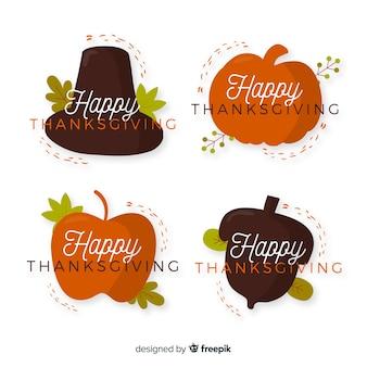 Platte ontwerp thanksgiving badge collectie ontwerp
