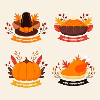 Platte ontwerp thanksgiving badge collectie