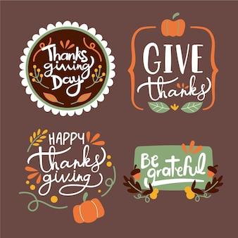 Platte ontwerp thanksgiving badge collectie