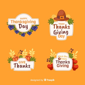 Platte ontwerp thanksgiving badge set