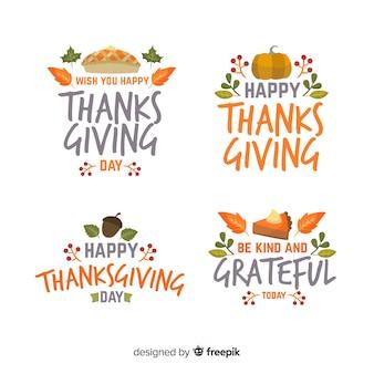 Platte ontwerp thanksgiving badge set