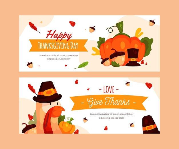 Platte ontwerp thanksgiving banner sjabloon