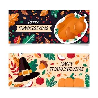 Platte ontwerp thanksgiving banners instellen
