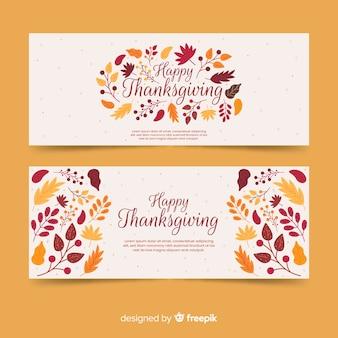 Platte ontwerp thanksgiving banners sjabloon