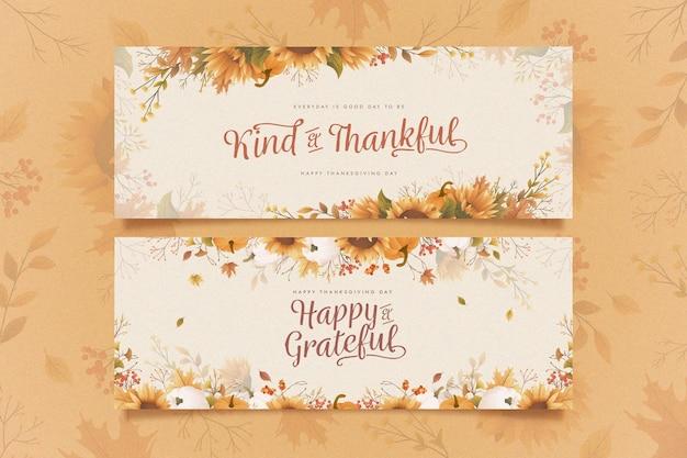 Platte ontwerp thanksgiving banners