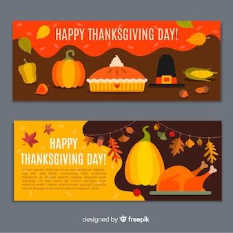 Platte ontwerp thanksgiving bannersa sjabloon
