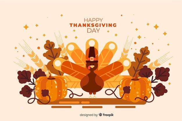 Platte ontwerp thanksgiving day achtergrond