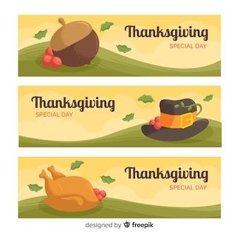 Platte ontwerp thanksgiving day banner set