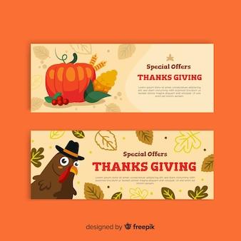 Platte ontwerp thanksgiving day banner set