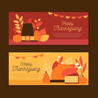 Platte ontwerp thanksgiving horizontale banners
