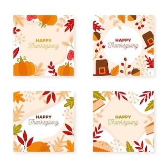 Platte ontwerp thanksgiving instagram-berichten