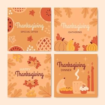 Platte ontwerp thanksgiving instagram post