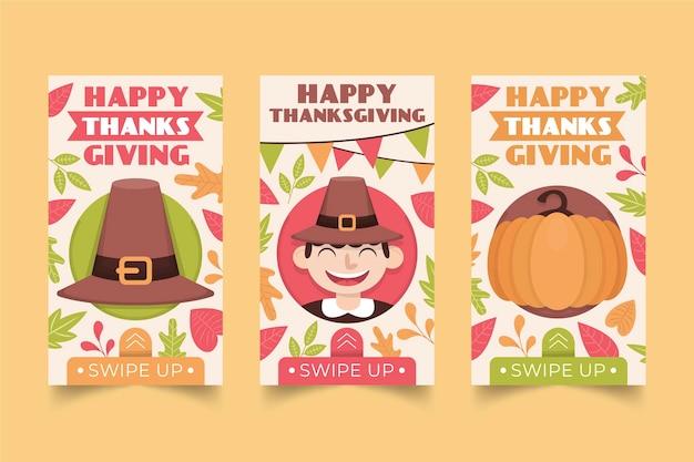 Platte ontwerp thanksgiving instagram-verhalenpakket
