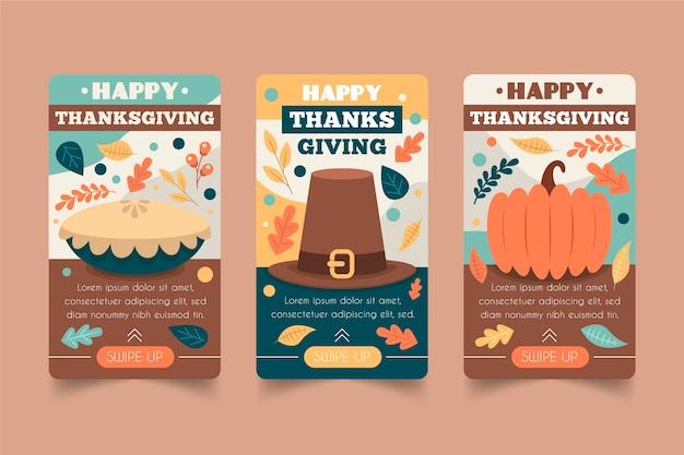 Platte ontwerp thanksgiving instagramverhalen instellen