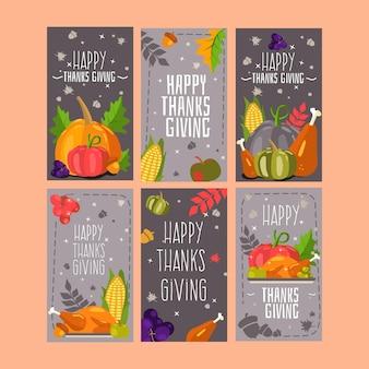 Platte ontwerp thanksgiving instagramverhalen