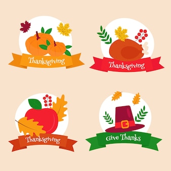 Platte ontwerp thanksgiving label / badge set