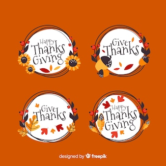 Platte ontwerp thanksgiving label collectie