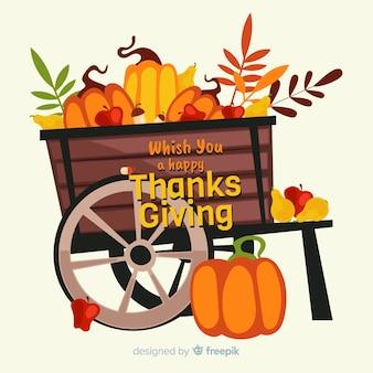 Platte ontwerp thanksgiving oogst achtergrond