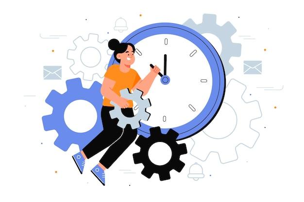 Platte ontwerp tijd management concept