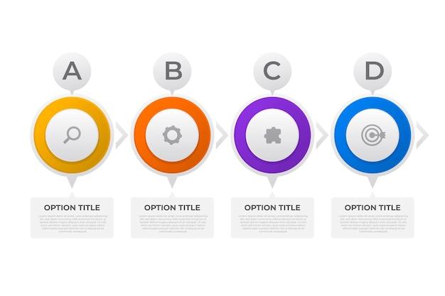 Platte ontwerp tijdlijn infographic sjabloon
