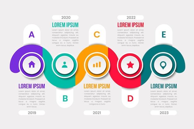 Platte ontwerp tijdlijn infographic