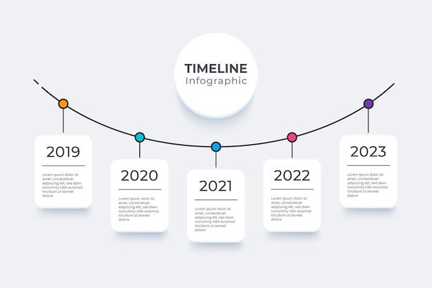 Platte ontwerp tijdlijn infographics