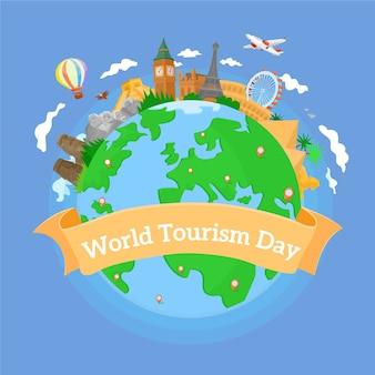 Platte ontwerp toerisme dag achtergrond