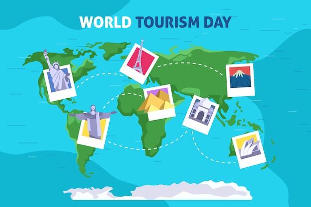 Platte ontwerp toerisme dag concept