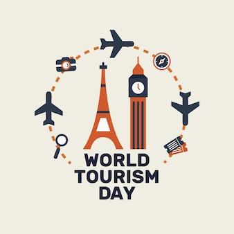 Platte ontwerp toeristische dag met bezienswaardigheden