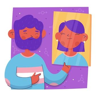 Platte ontwerp transgender persoon illustratie