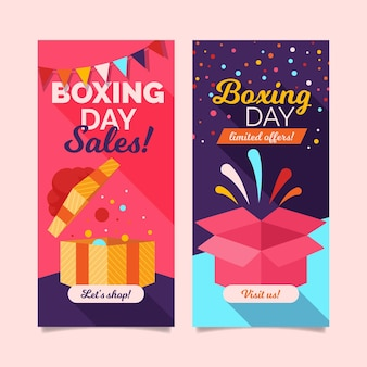 Platte ontwerp tweede kerstdag verkoop banners sjabloon