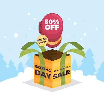 Platte ontwerp tweede kerstdag verkoop concept