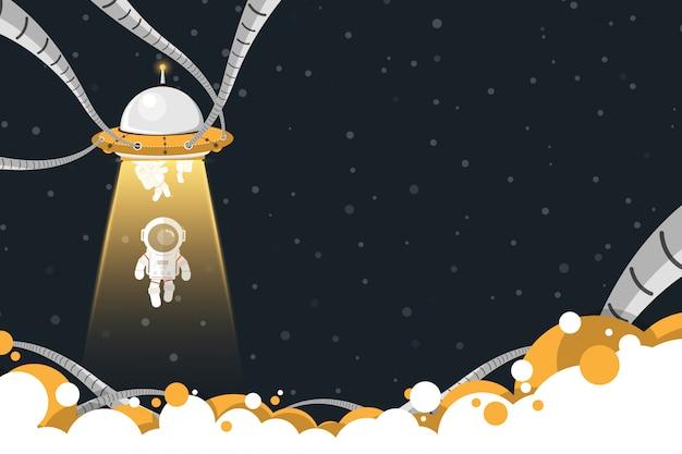 Platte ontwerp, ufo ruimteschip ontvoering astronauten, vectorillustratie