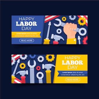 Platte ontwerp usa dag van de arbeid banners sjabloon