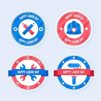 Platte ontwerp usa labor day badge-collectie