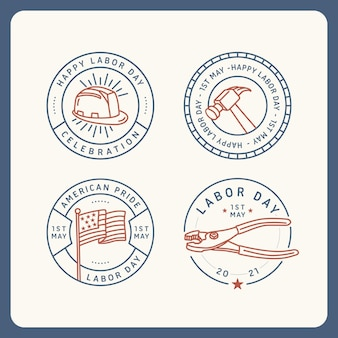 Platte ontwerp usa labor day badge-collectie