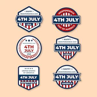 Platte ontwerp usa onafhankelijkheidsdag badges