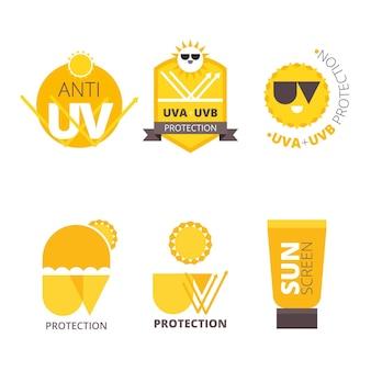 Platte ontwerp uv-badges-collectie