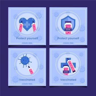 Platte ontwerp vaccin instagram post collectie