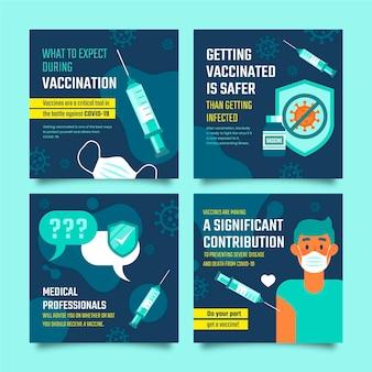Platte ontwerp vaccin instagram post set