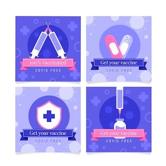 Platte ontwerp vaccinatie instagram-berichten