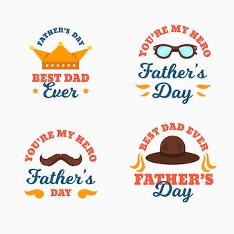 Platte ontwerp vaderdag badges