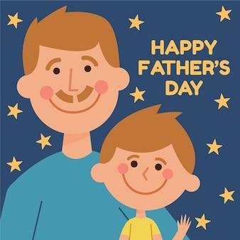 Platte ontwerp vaderdag illustratie met zoon